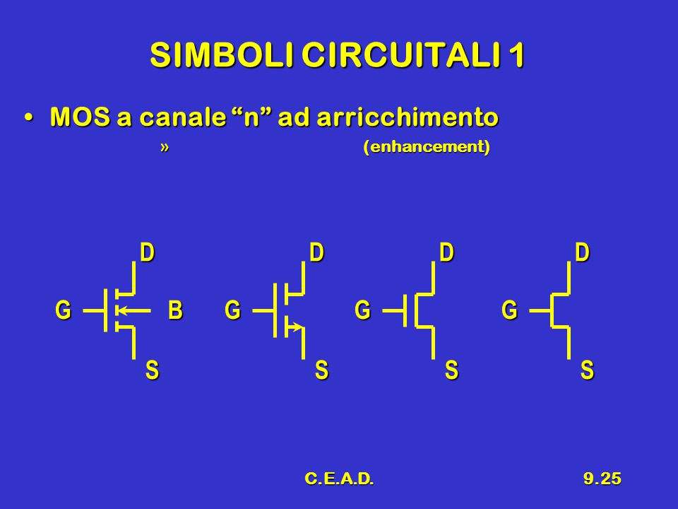 SIMBOLI CIRCUITALI 1 MOS a canale n ad arricchimento D D D D G B G G