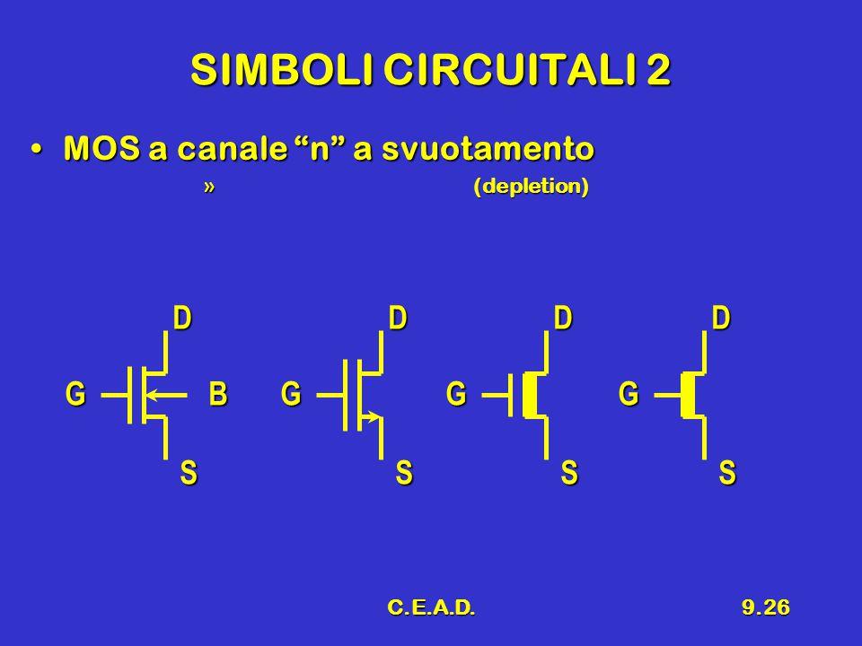 SIMBOLI CIRCUITALI 2 MOS a canale n a svuotamento D D D D G B G G G
