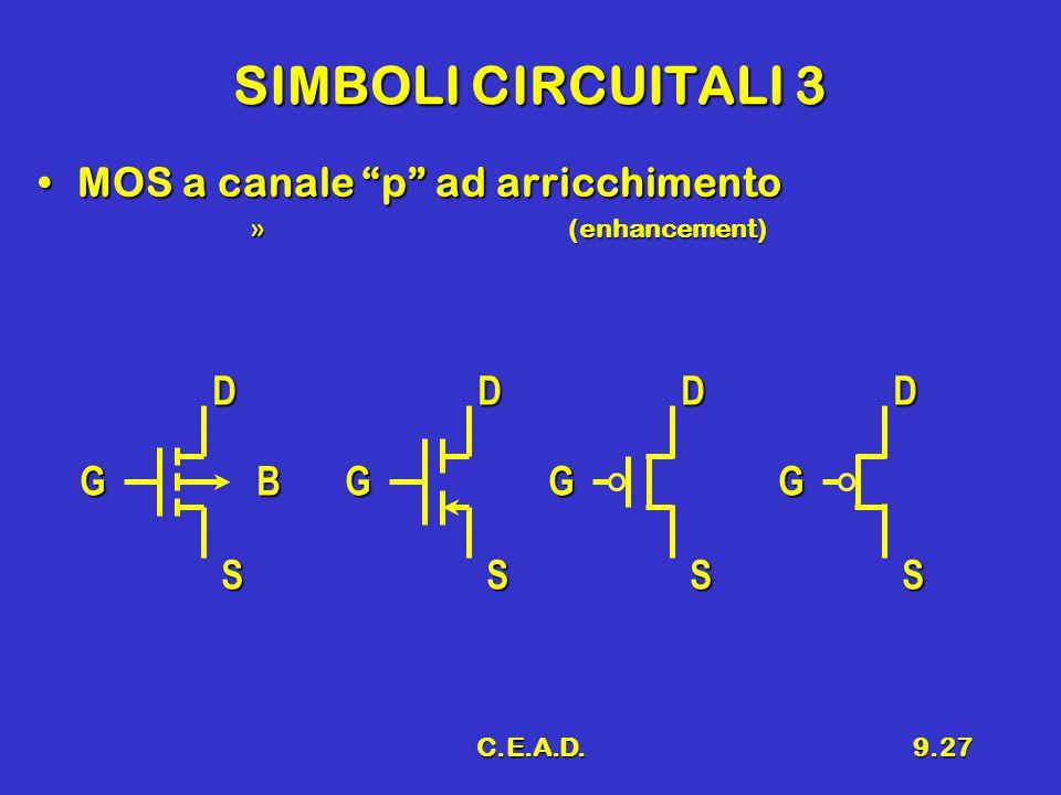 SIMBOLI CIRCUITALI 3 MOS a canale p ad arricchimento D D D D G B G G