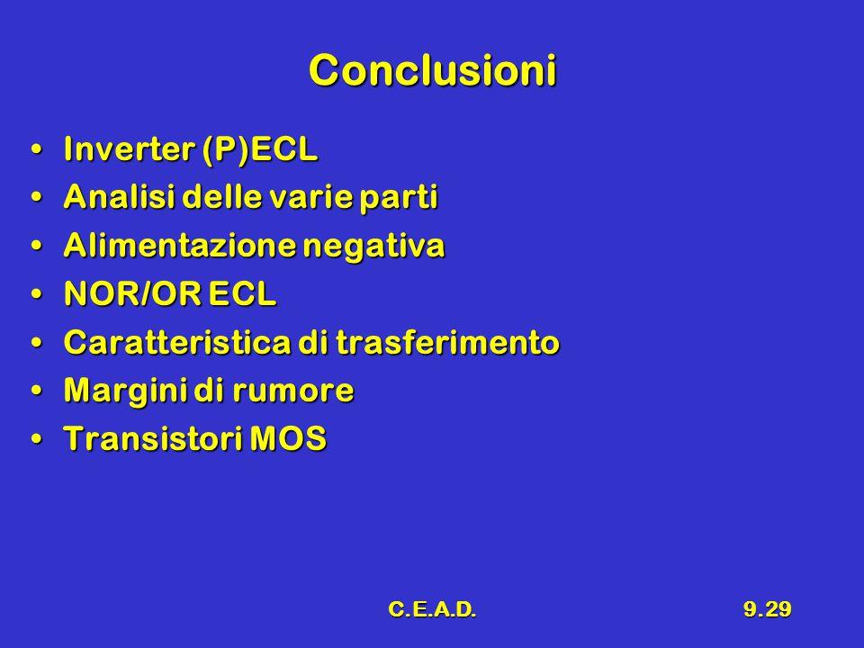 Conclusioni Inverter (P)ECL Analisi delle varie parti