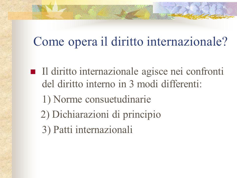 Come opera il diritto internazionale