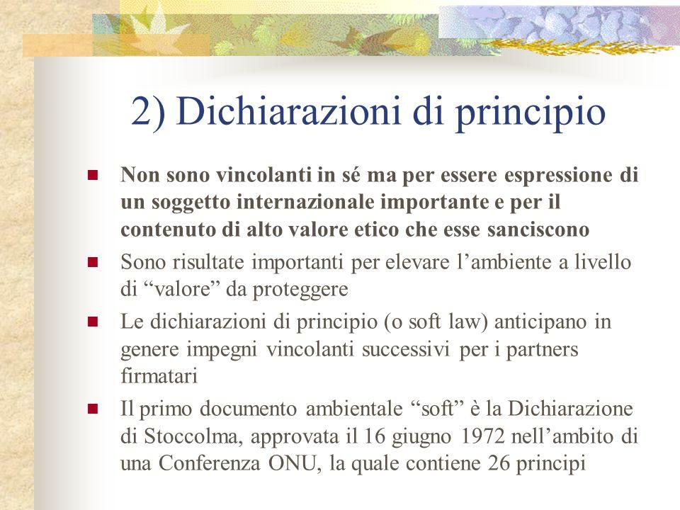 2) Dichiarazioni di principio
