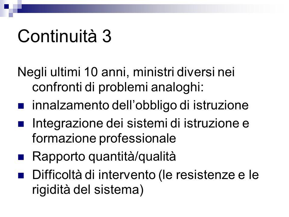 Continuità 3 Negli ultimi 10 anni, ministri diversi nei confronti di problemi analoghi: innalzamento dell'obbligo di istruzione.