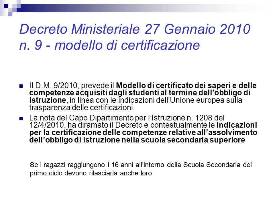 Decreto Ministeriale 27 Gennaio 2010 n. 9 - modello di certificazione