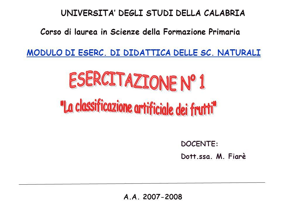 La classificazione artificiale dei frutti