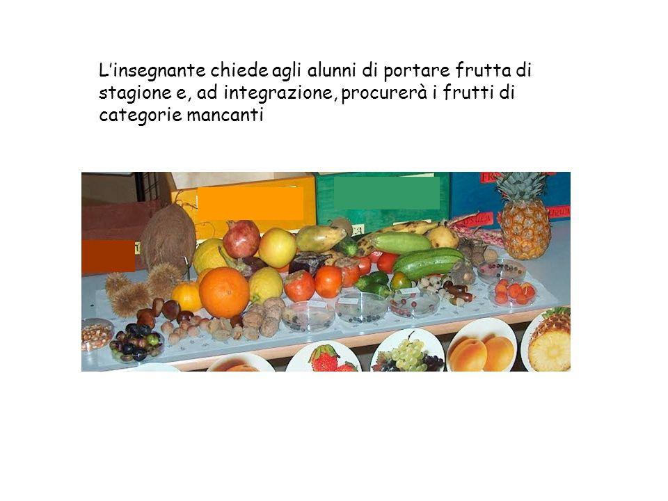 L'insegnante chiede agli alunni di portare frutta di stagione e, ad integrazione, procurerà i frutti di categorie mancanti