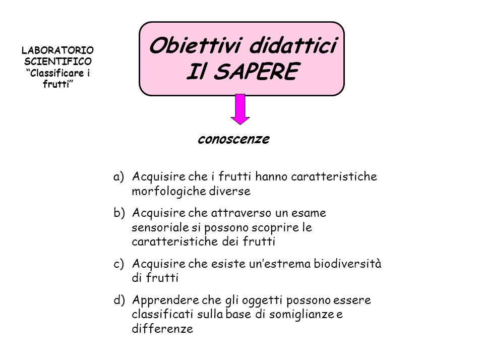 LABORATORIO SCIENTIFICO Classificare i frutti