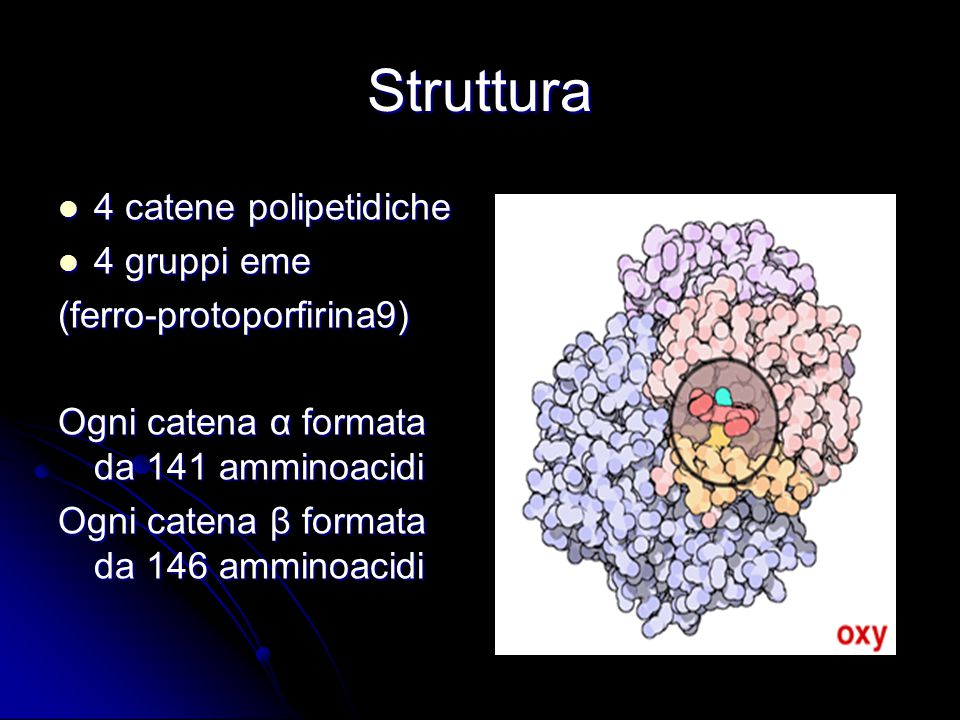 Struttura 4 catene polipetidiche 4 gruppi eme (ferro-protoporfirina9)