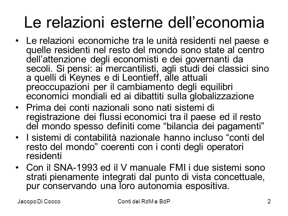 Le relazioni esterne dell'economia