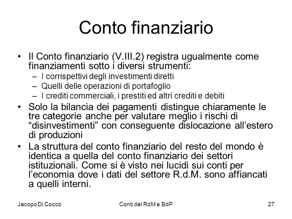 Conto finanziario Il Conto finanziario (V.III.2) registra ugualmente come finanziamenti sotto i diversi strumenti: