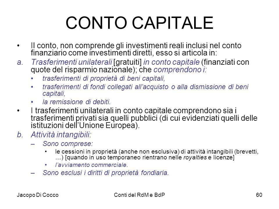 CONTO CAPITALE Il conto, non comprende gli investimenti reali inclusi nel conto finanziario come investimenti diretti, esso si articola in: