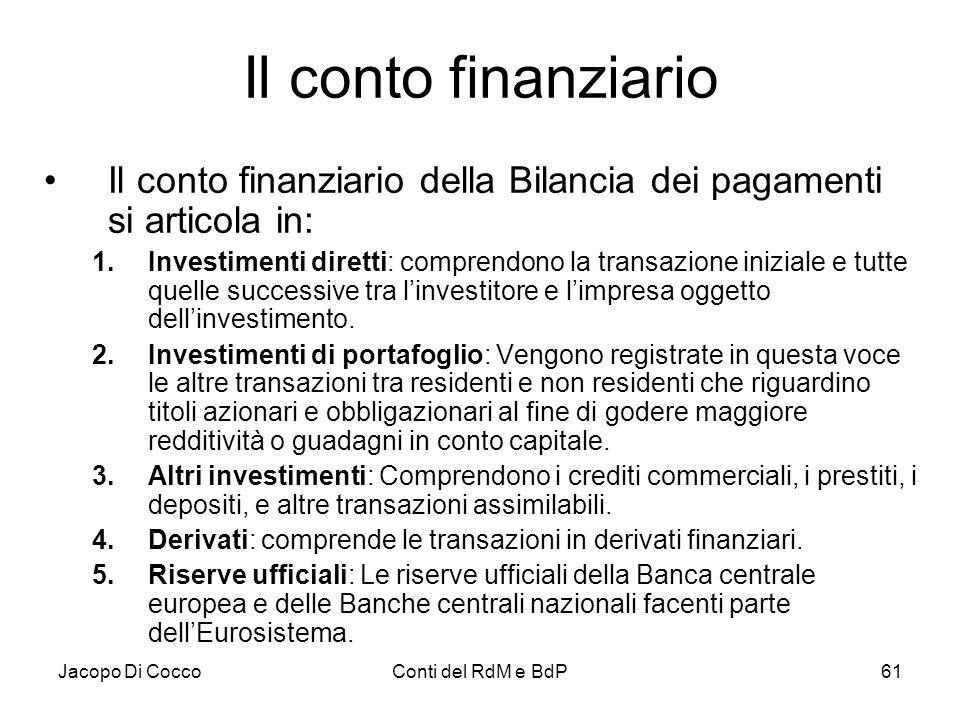 Il conto finanziario Il conto finanziario della Bilancia dei pagamenti si articola in: