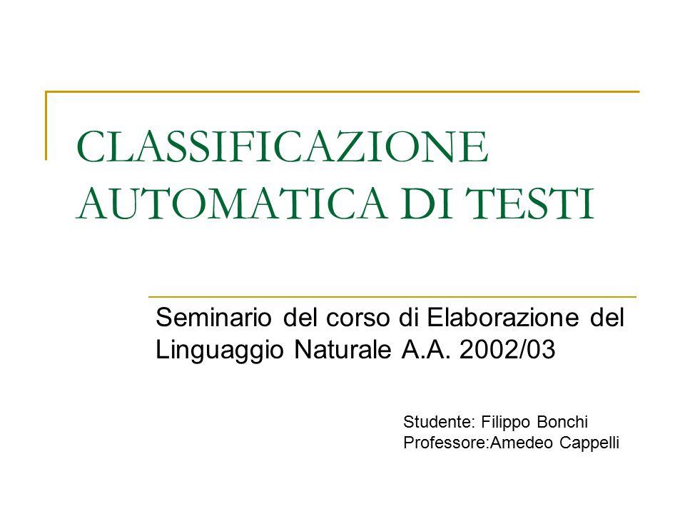 CLASSIFICAZIONE AUTOMATICA DI TESTI