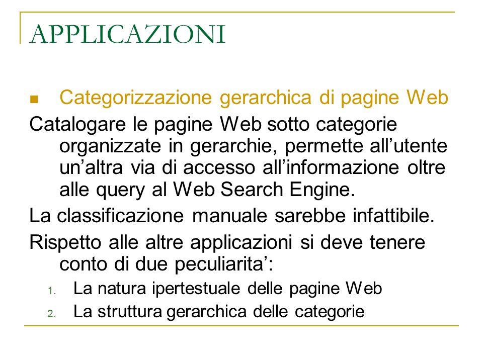 APPLICAZIONI Categorizzazione gerarchica di pagine Web