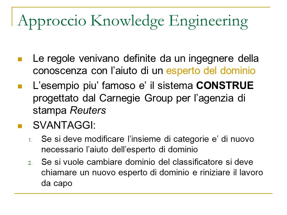 Approccio Knowledge Engineering