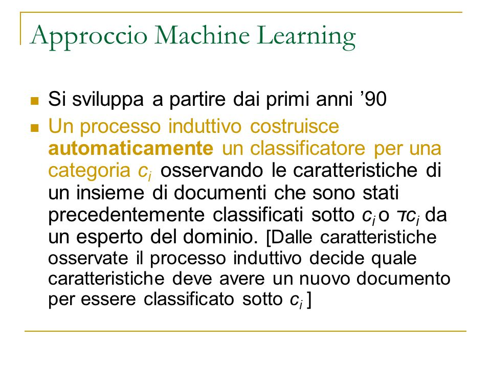 Approccio Machine Learning
