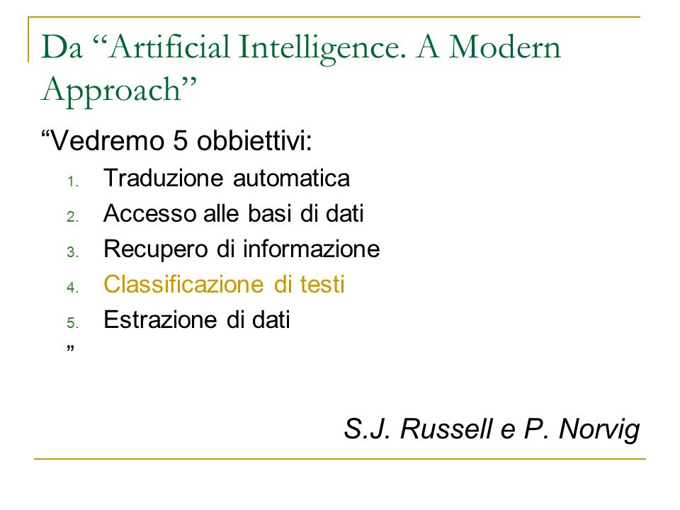Da Artificial Intelligence. A Modern Approach