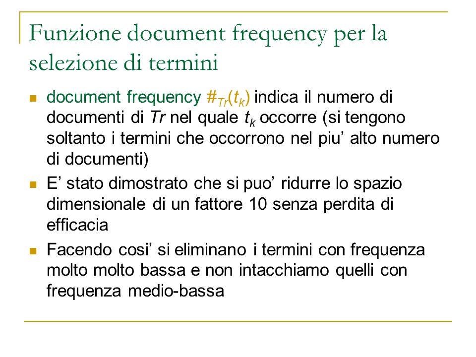 Funzione document frequency per la selezione di termini