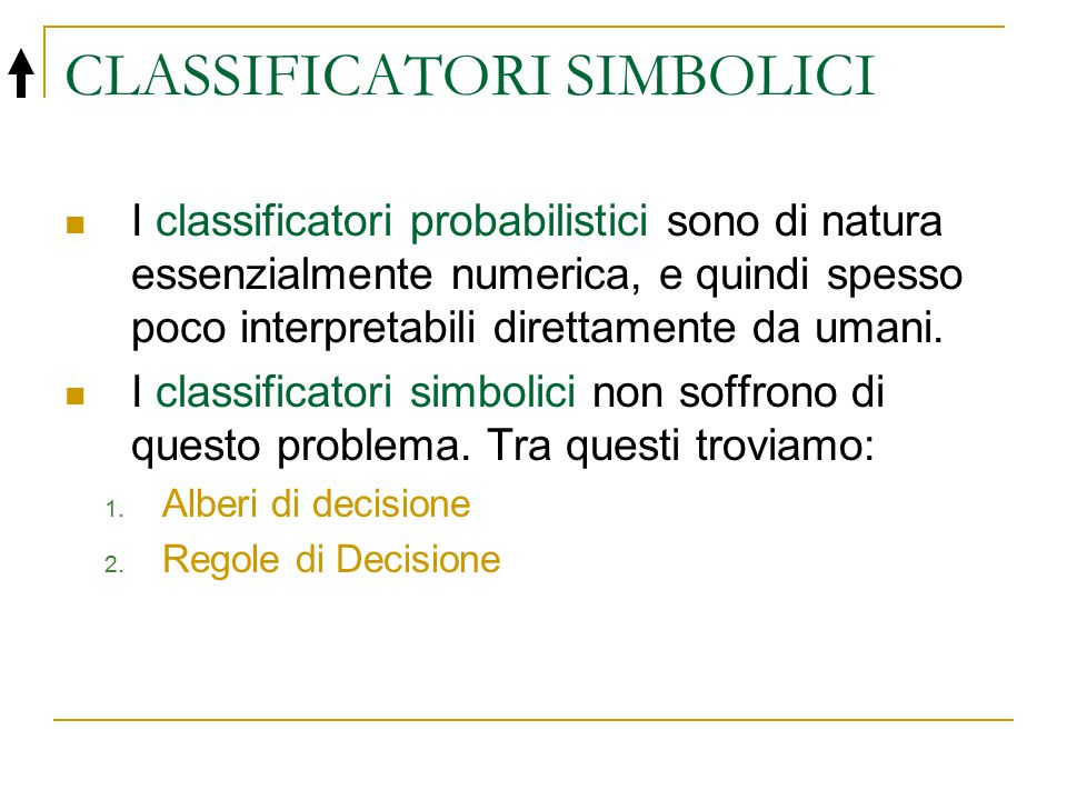 CLASSIFICATORI SIMBOLICI