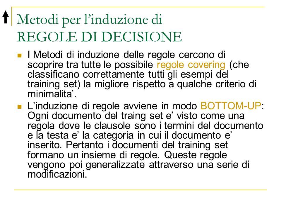 Metodi per l'induzione di REGOLE DI DECISIONE