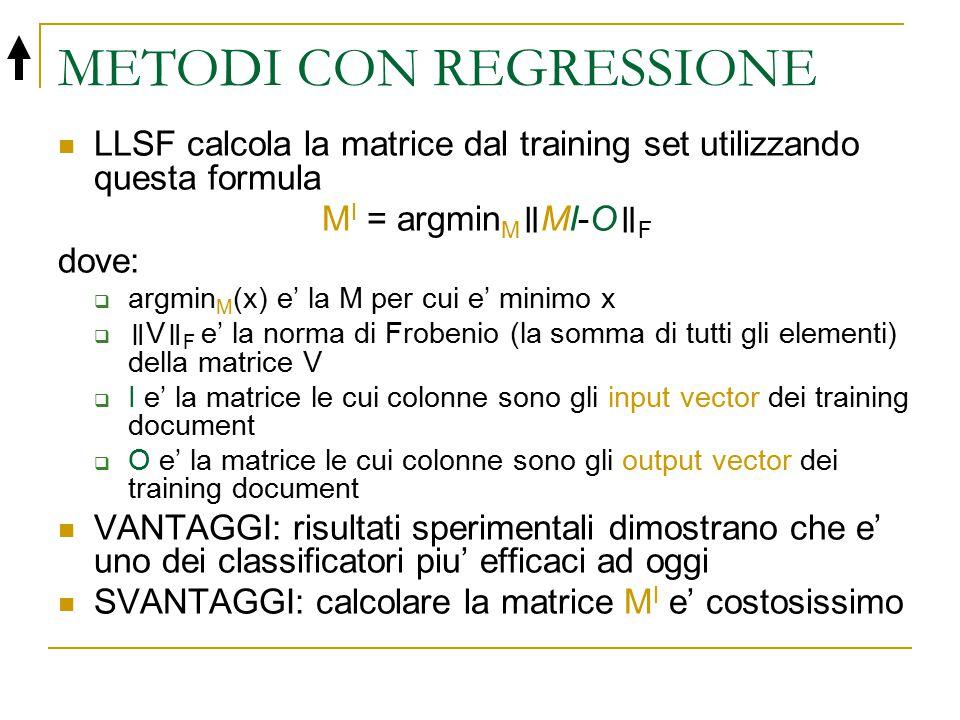 METODI CON REGRESSIONE