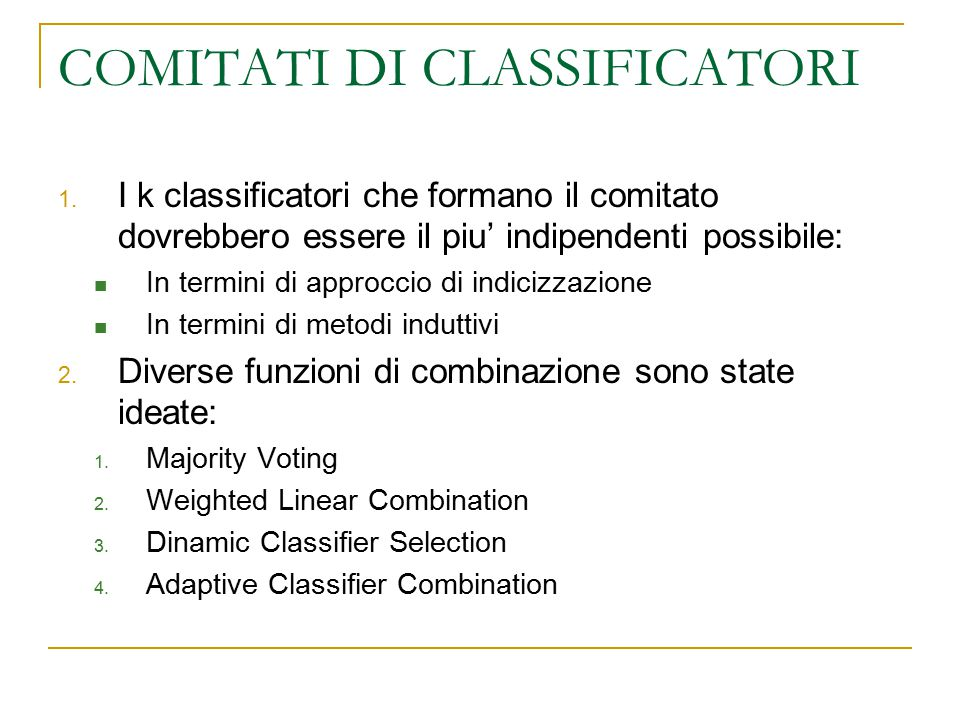 COMITATI DI CLASSIFICATORI