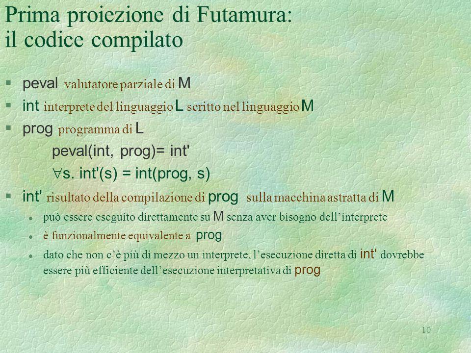 Prima proiezione di Futamura: il codice compilato