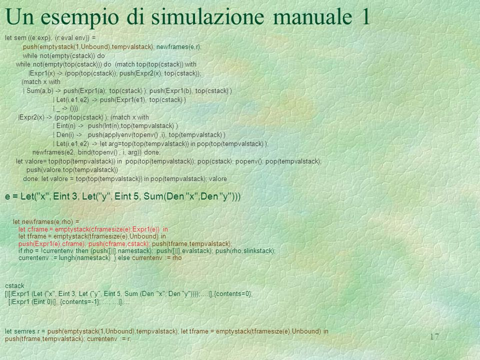 Un esempio di simulazione manuale 1