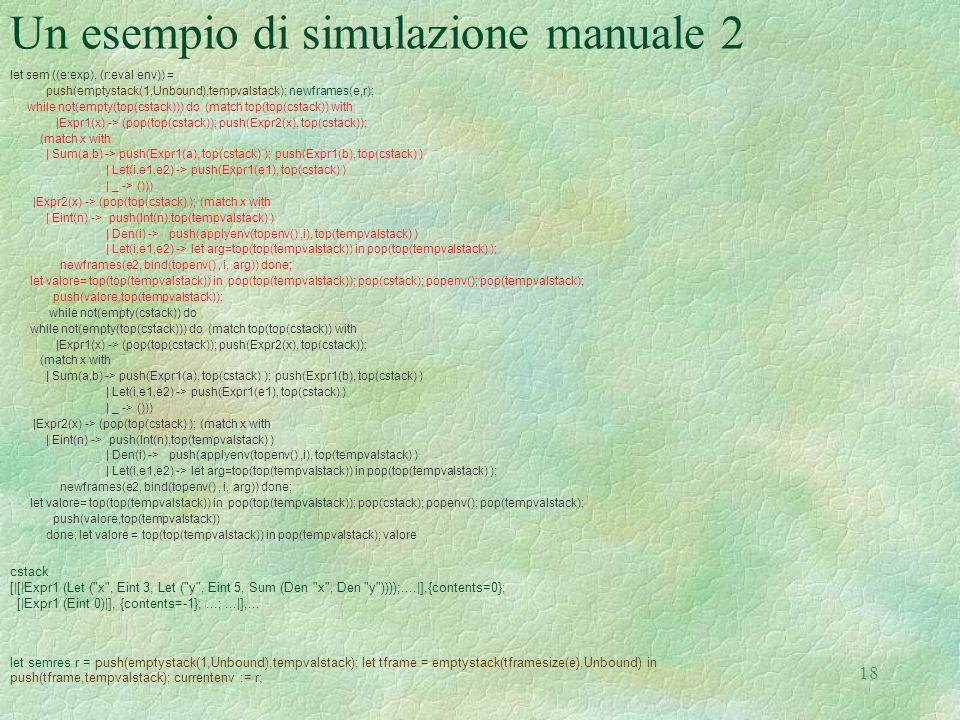 Un esempio di simulazione manuale 2