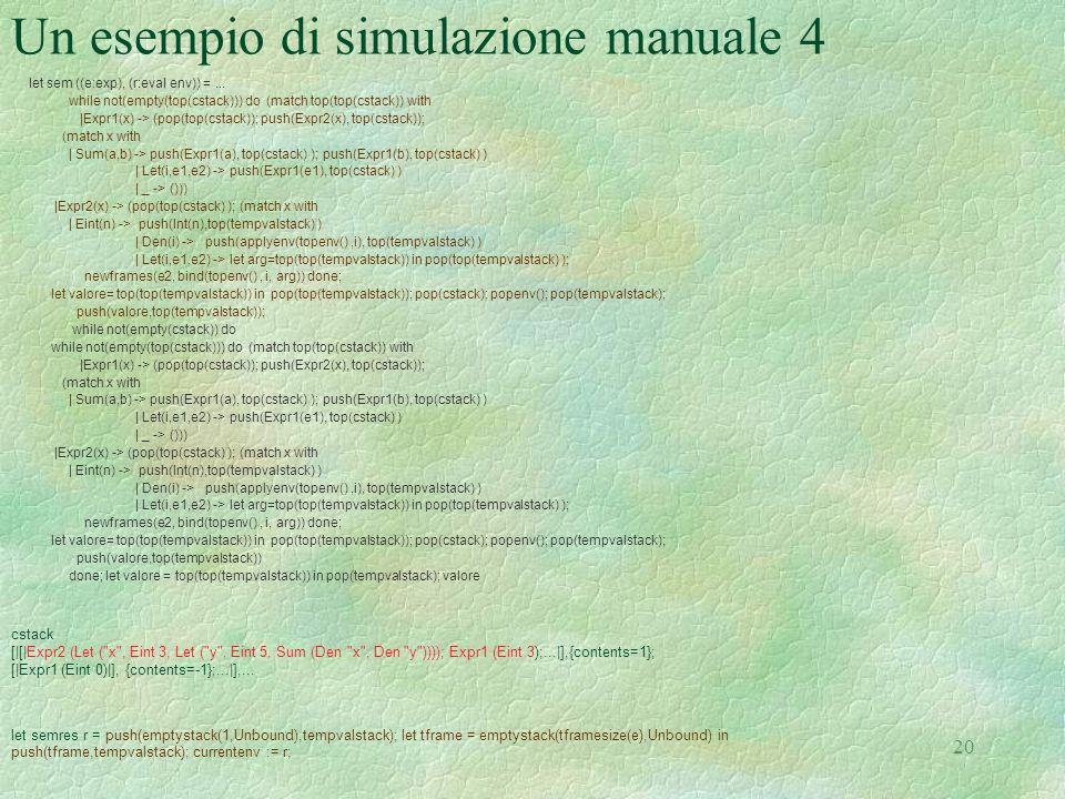 Un esempio di simulazione manuale 4
