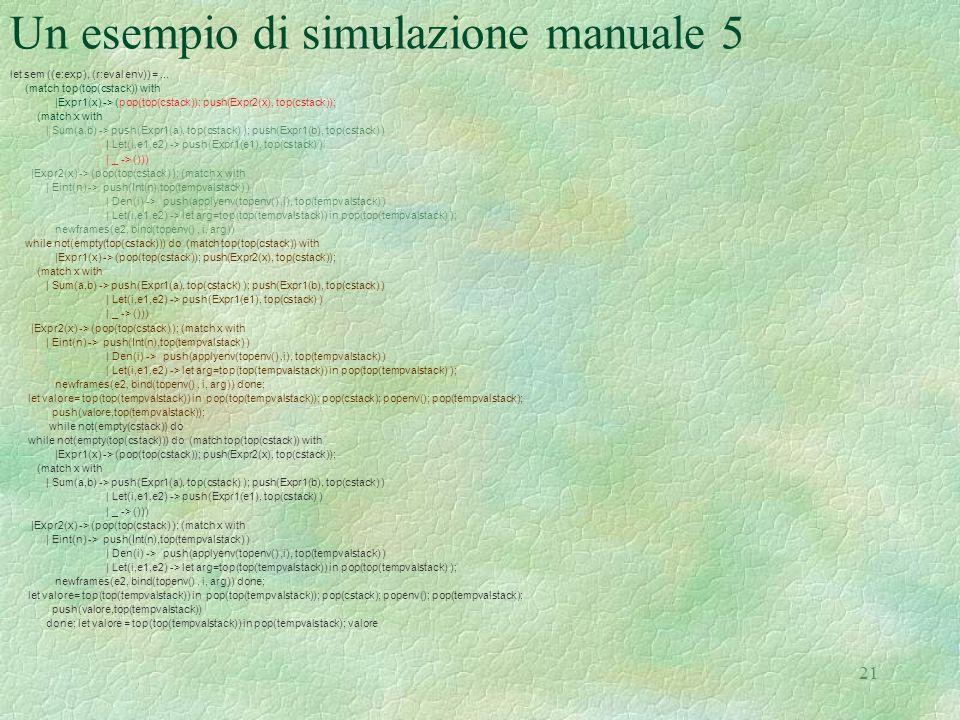 Un esempio di simulazione manuale 5