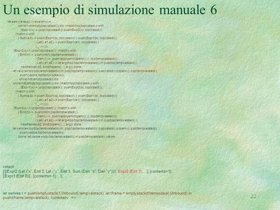 Un esempio di simulazione manuale 6