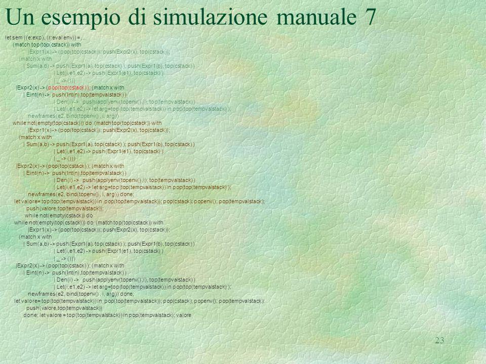 Un esempio di simulazione manuale 7