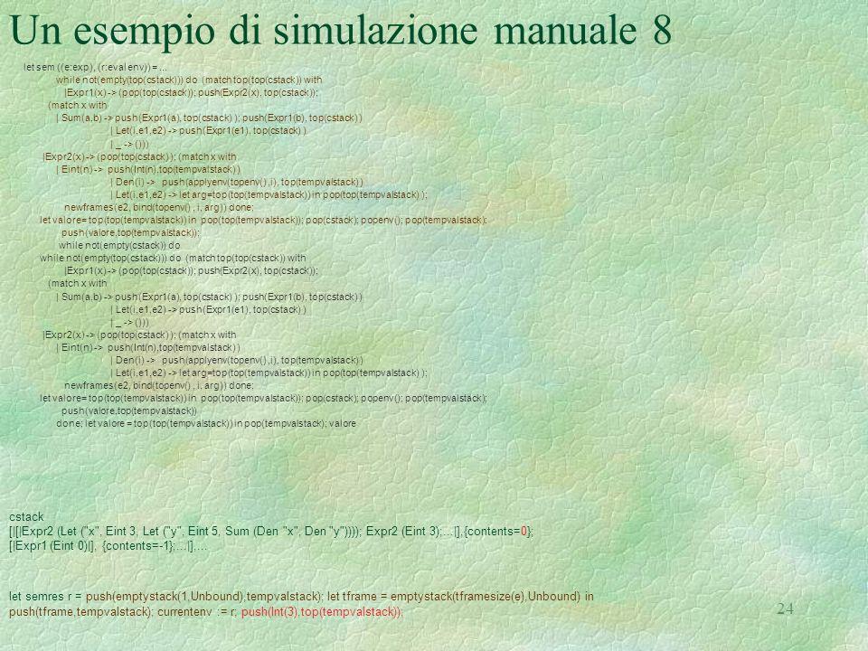 Un esempio di simulazione manuale 8
