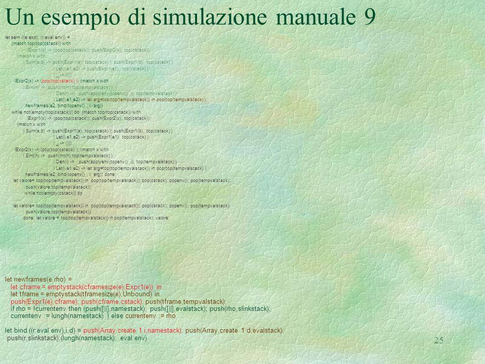 Un esempio di simulazione manuale 9