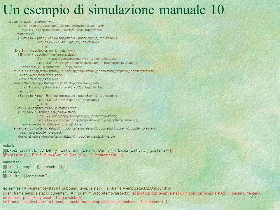 Un esempio di simulazione manuale 10