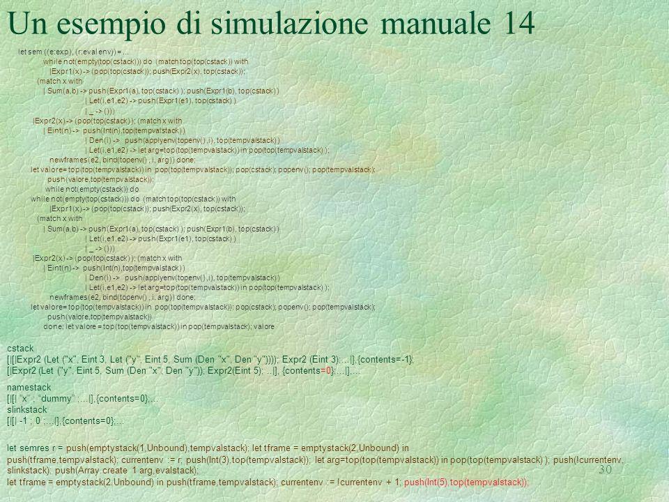 Un esempio di simulazione manuale 14