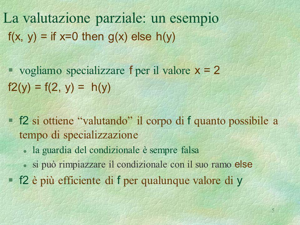 La valutazione parziale: un esempio