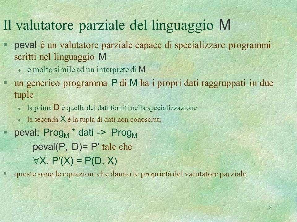 Il valutatore parziale del linguaggio M