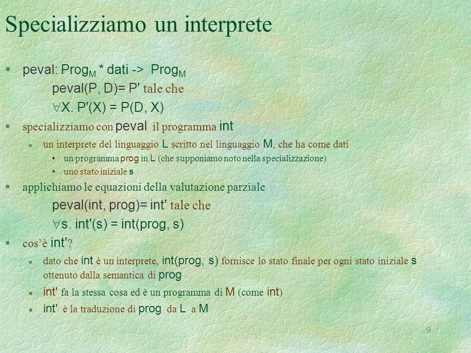 Specializziamo un interprete