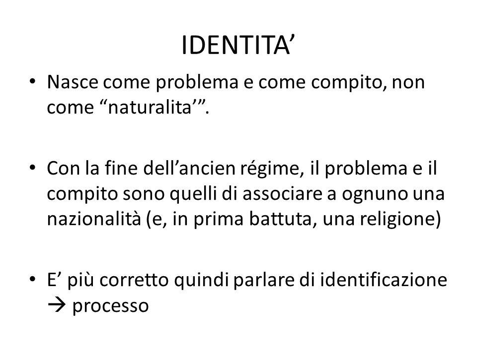 IDENTITA' Nasce come problema e come compito, non come naturalita' .