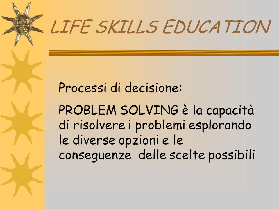 LIFE SKILLS EDUCATION Processi di decisione: