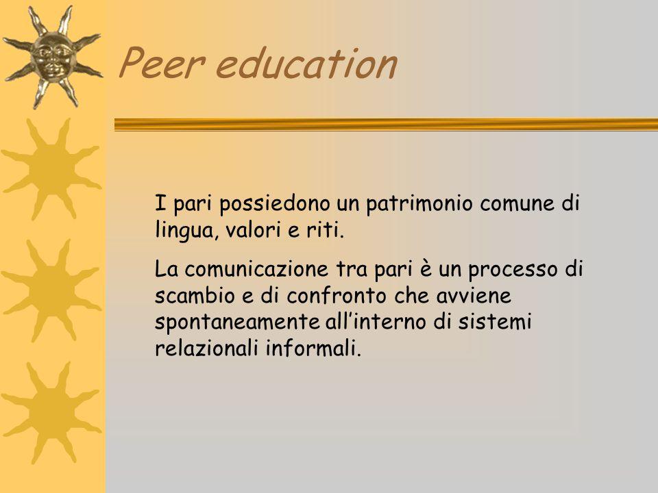 Peer education I pari possiedono un patrimonio comune di lingua, valori e riti.