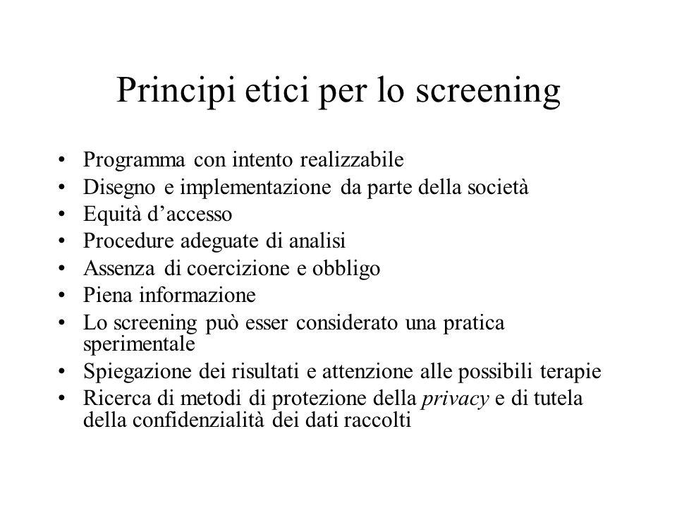 Principi etici per lo screening