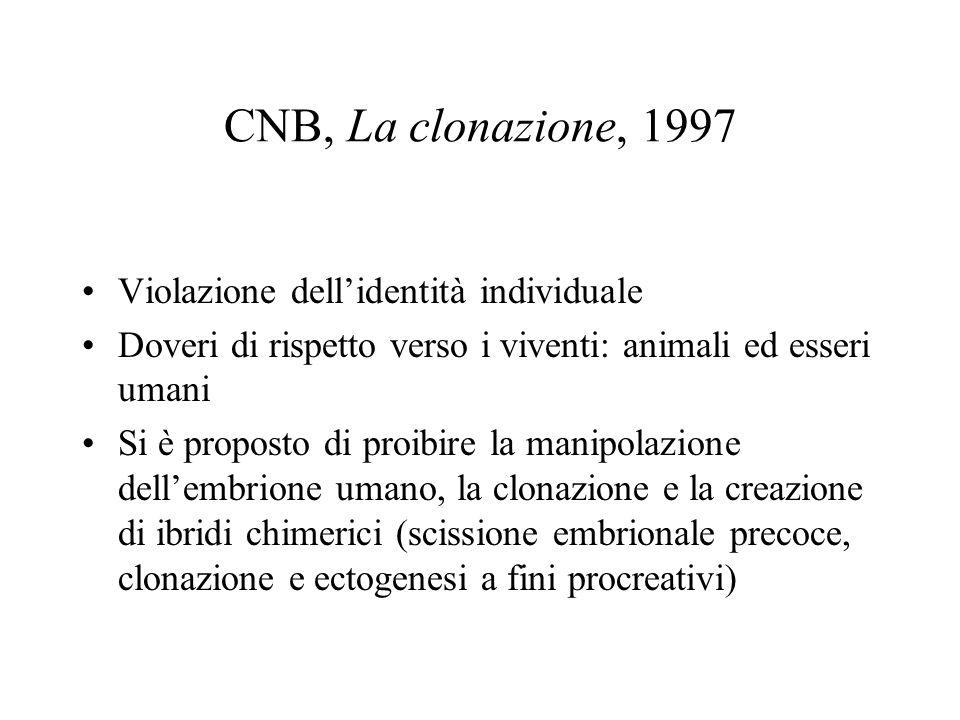CNB, La clonazione, 1997 Violazione dell'identità individuale