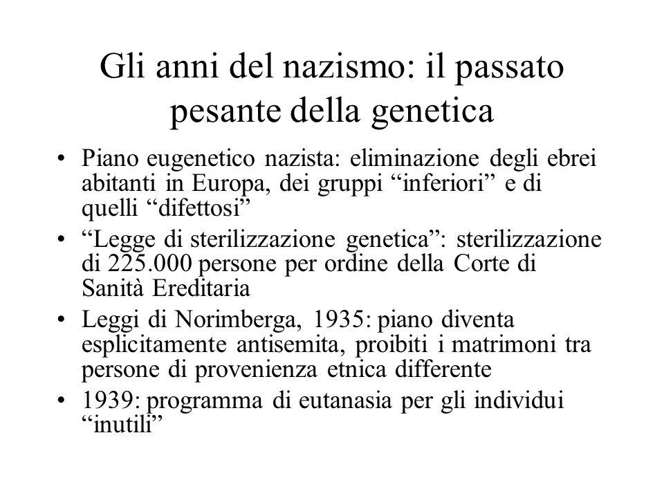 Gli anni del nazismo: il passato pesante della genetica