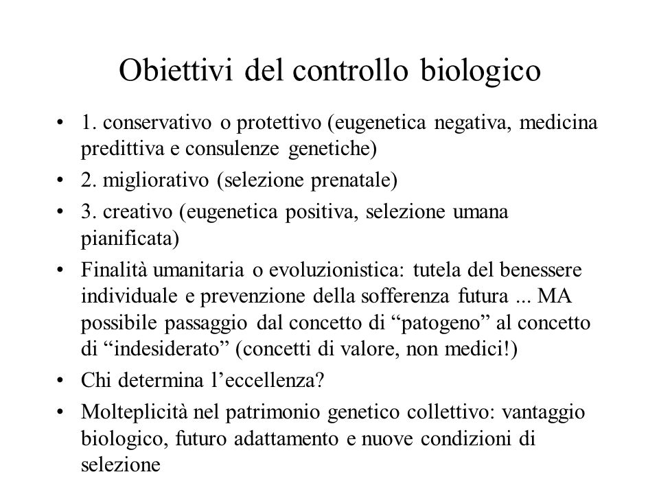 Obiettivi del controllo biologico