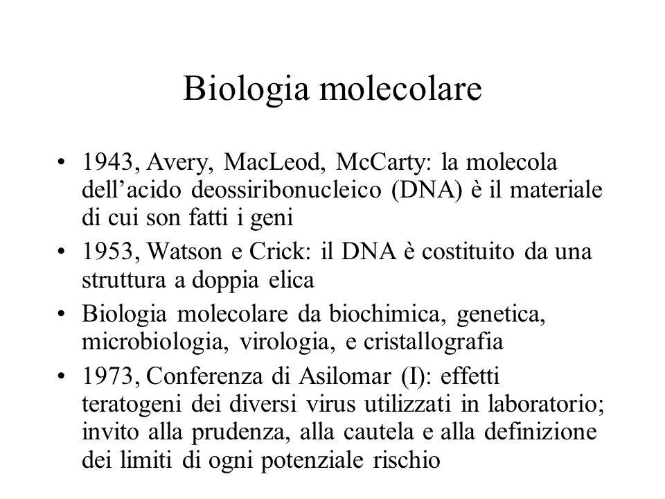 Biologia molecolare 1943, Avery, MacLeod, McCarty: la molecola dell'acido deossiribonucleico (DNA) è il materiale di cui son fatti i geni.