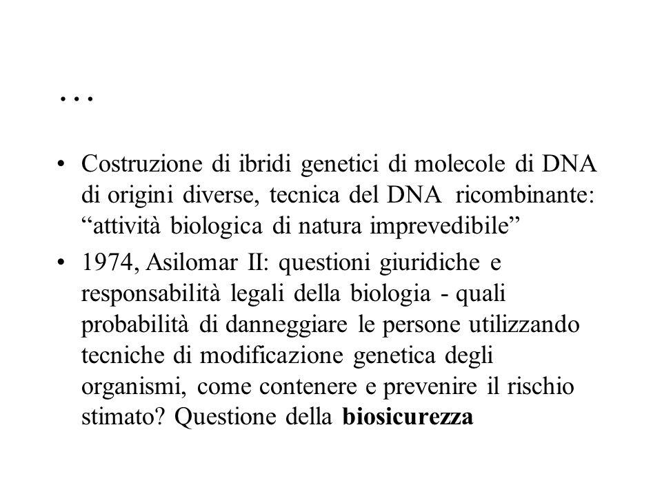 … Costruzione di ibridi genetici di molecole di DNA di origini diverse, tecnica del DNA ricombinante: attività biologica di natura imprevedibile
