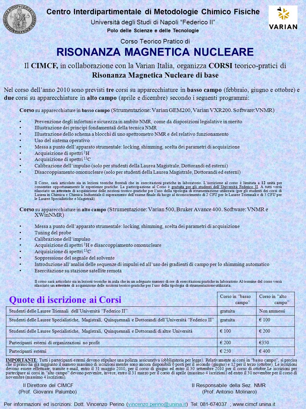 Corso Teorico Pratico di RISONANZA MAGNETICA NUCLEARE